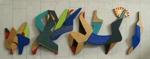 Plywoodrelief, tempera, 25x65 cm