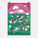 stad i regn rosagrön