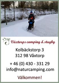 Våxtorps camping & stugby är en naturskön vintercamping utanför Laholm med urval av vinteraktiviteter & utflyktsmål.