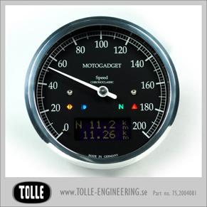 Motogadget Chronoclassic Speedo - mst Motogadget Chronoclassic Speedo Black LCD/Black anodized/Black ring