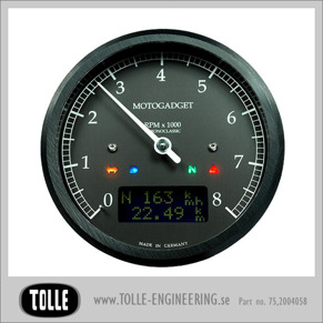 Motogadget Chronoclassic 8k Tacho - mst Motogadget Chronoclassic Black LCD/Black anodized/Black ring