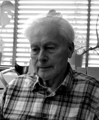 Foto på David Stavenheim. Man med grått bakåtkammat hår och rutig skjorta.