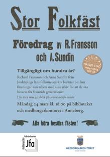 """Blå annonsaffisch med rubriktext: """"Stor Folkfäst Föredrag av R. Fransson och A. Sundin.Design: Maria Idebrant"""