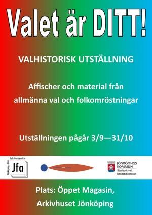 """Annonsaffisch för utställning i rött, grönt och blått med rubriktexten: """"Valet är Ditt!"""""""