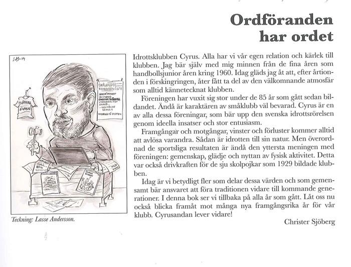 """Bild på text """"Ordföranden har ordet"""", Från Sjögatans Idrottsförening till Idrottsklubben Cyrus."""