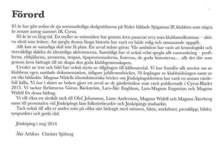 Bild på förordet till Från Sjögatans Idrottsförening till Idrottsklubben Cyrus.