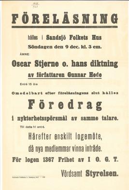"""Gulnad affisch med rubrik """"Föreläsning hålles i Sandsjö Folkets Hus"""". Arkiv-ID: 3411 Byggnadsföreningen Folkets Hus i (Norra) Sandsjö u.p.a"""
