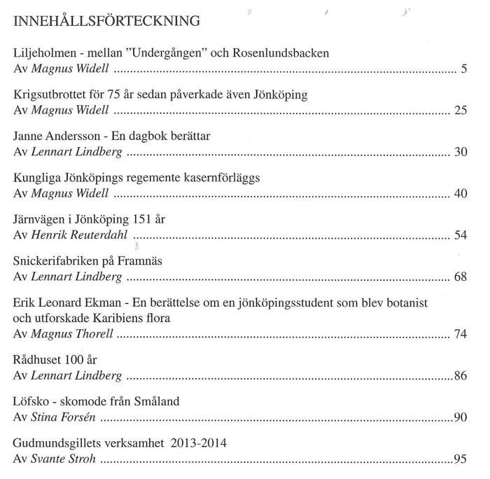 Bild på innehållsförteckning till Gudmundsgillets årsbok 2014.