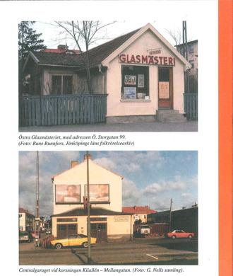 """Baksida på bokomslag till Gudmundsgillets årsbok 2014. Ett foto på beigt hus med skylt """"Glasmästeri"""" och ett foto på byggnad och bilar med bildtext """"Centralgaraget""""."""