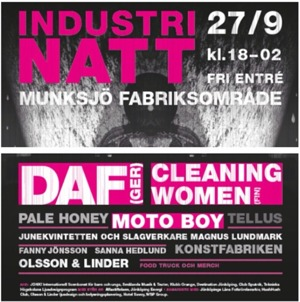 Annonsaffisch i rosa vitt och svart för Industrinatt.