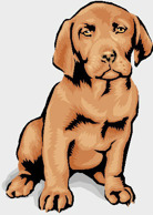 Tecknad brun hund.