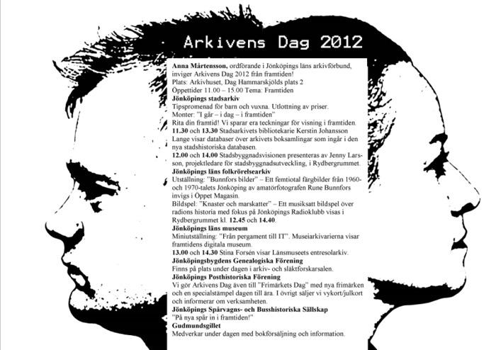 Affisch Arkivens Dag 2012. Programpunkter skrivna mellan två ansikten i profil. Ett blickar bakåt och ett blickar framåt.