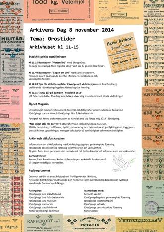 Affisch för Arkivens Dag 2014. Programpunkter inramade av ett collage av ransoneringskort.