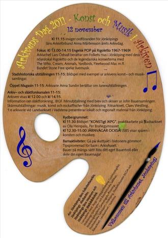 Affisch Arkivens Dag 2011. Programpunkter uppställda mot bakgrund av en palett.