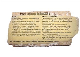 Affisch Arkivens Dag 2008. Programpunkter skrivna mot bakgrund av knäckebröd med en ostskiva på.
