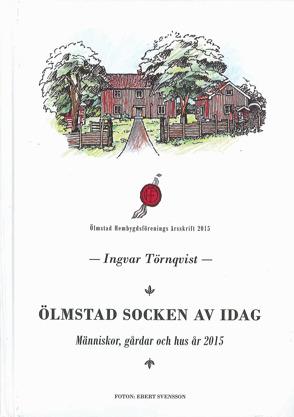 Färgteckning föreställande Ölmstad Hembygdsgård mot vit bakgrund på framsida av bok.