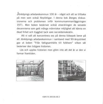 Baksidan till bokomslag Mot framtidens Folkhem. Text och två svarvita fotografier på bebyggelse.