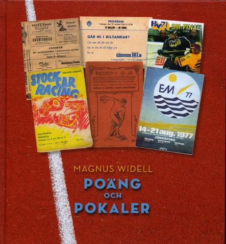 Bokomslag till Poäng och pokaler. 6 stycken bilder på olika evenemang. Bakgrunden utgörs av en bild på underlaget av en löparbana.
