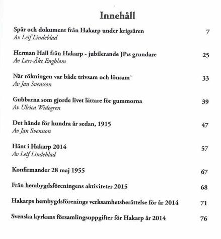 Bild på innehållsförteckning till Hakarps Krönika 2015.