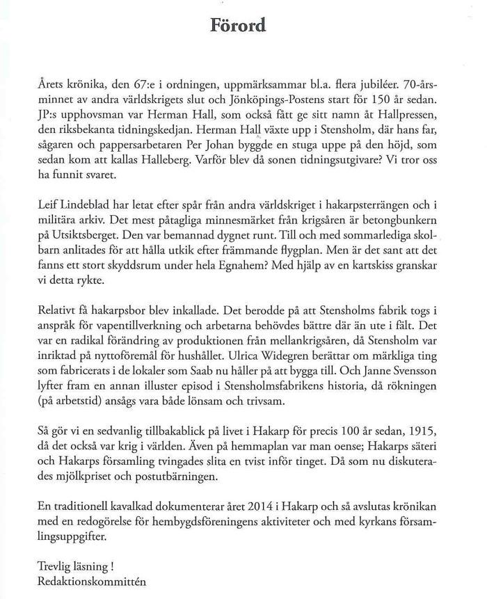 Bild på förordet till Hakarps Krönika 2015.
