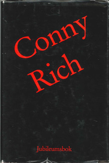 Bokomslag till boken Conny Rich - jubileumsbok. Röd text mot svart botten.