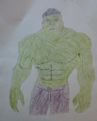 Foto av teckning på grön, muskulös varelse med lila byxor.