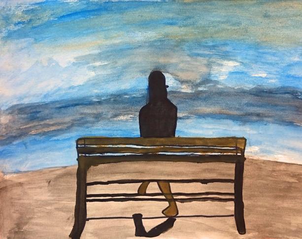 Foto av vattenfärgsmålning föreställande en människa som sitter på en bänk och blickar ut över vatten eller himmel.