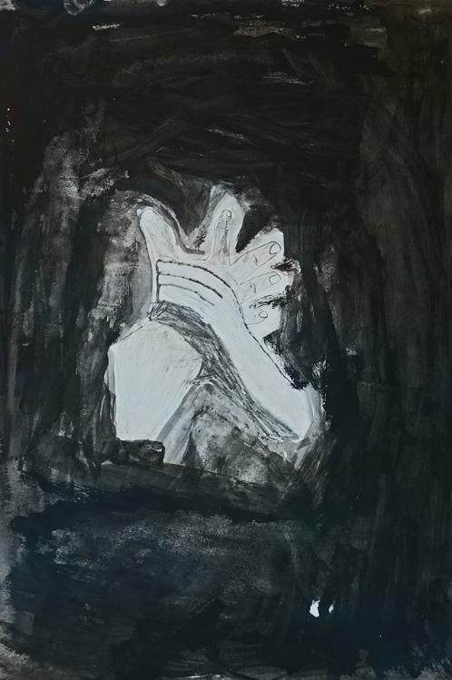 Foto på svartvit målning av en hand som greppar en annan hand.