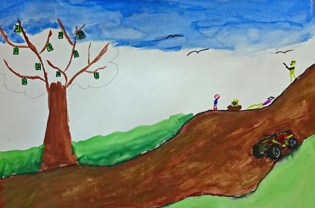 Foto på målning av lerig väg och fyrhjuling. Vid sidan av vägen ett träd med pengasedlar istället för blad. Även tre figurer, varav en har ett gevär och en ligger ner.