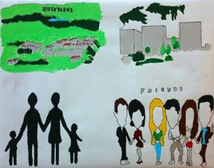 """Foto av målning med fyra bilder: en karta över Huskvarna, en stad i silhuette, en familj i silhuette och sex figurer med texten """"Friends""""."""