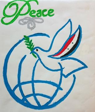 """Foto på målning av fredsduva med syrianska flaggan på ena vingen. Duvan flyger över stiliserad jordglob. Över globen texten: """"Peace"""""""