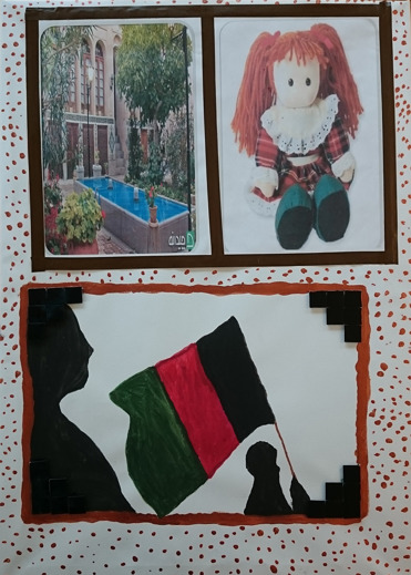 Foto av bildcollage bl.a. en docka i rött hår, en innergård med grönska och vatten och en teckning av en skuggfigur som håller i en flagga.