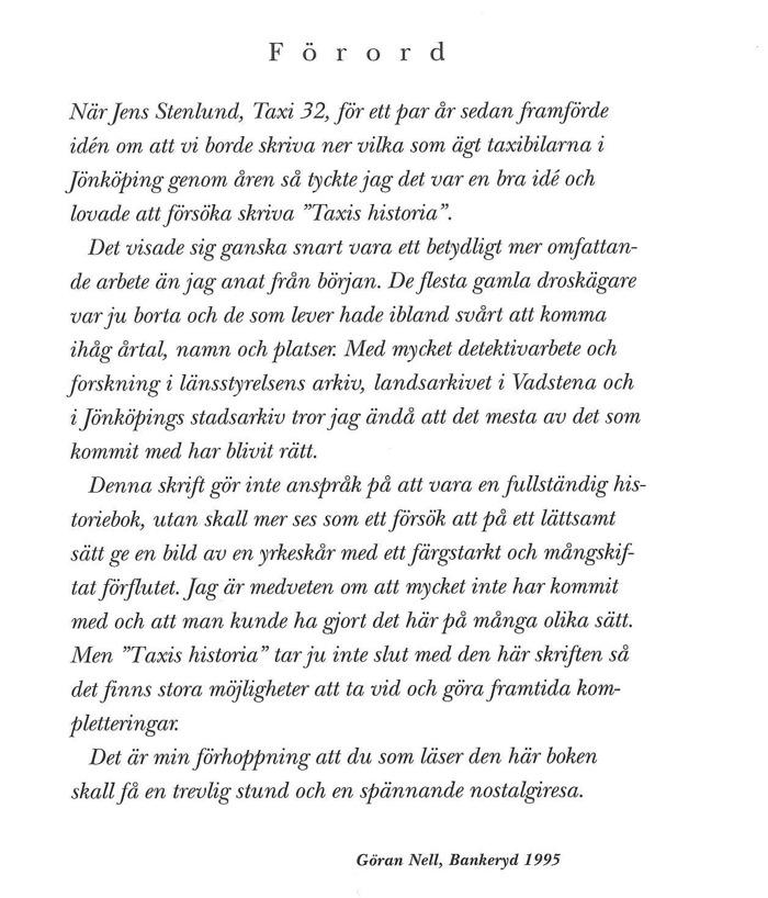 Bild på förordet från boken Taxi av Göran Nell.