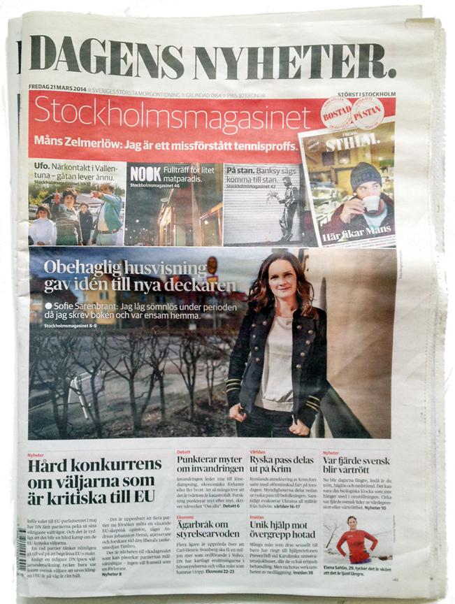 Dagens Nyheters förstasida fredagen 21 mars 2014.