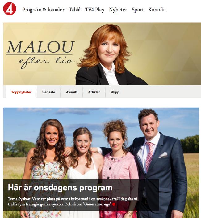 Malou Efter tio på TV4 2 april 2014.