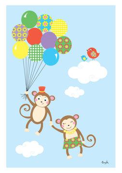 Apor med ballonger - Blå