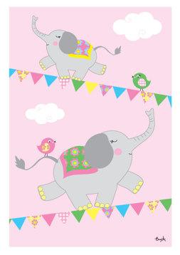 Elefanter på lina - Rosa