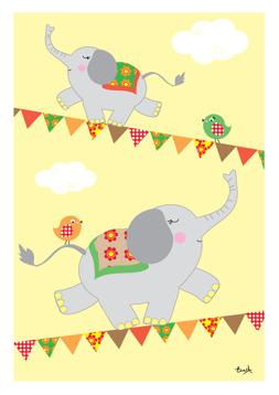 Elefanter på lina gul - REA 50 %