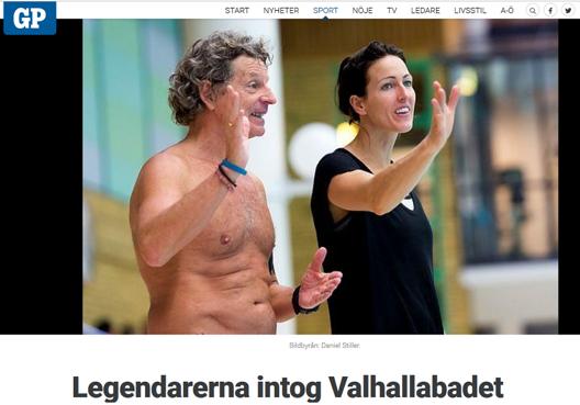 Glen Christiansen har arrangerat träningsläger på Valhallabadet under veckan. Hans hjälptränare den här veckan - Therese Alshammar,  som debuterade i tränarrollen. (från GöteborgsPosten - foto Daniel