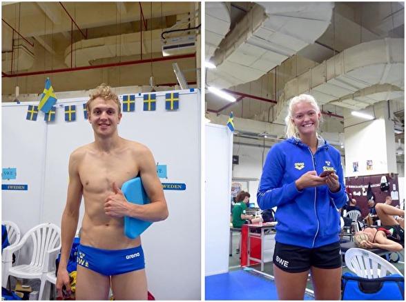 Axel Pettersson Jönköping och Vilma Ekström Linköping simmade 50m ryggsim resp 200m medley i dagens försökstävlingar