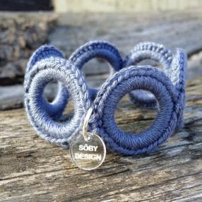 Virkat armband (Jeansblå)