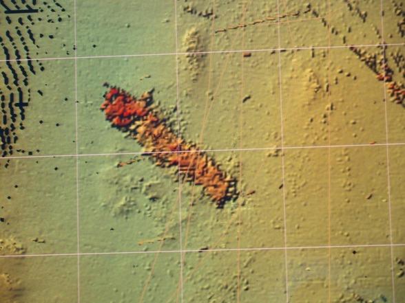 Bild tagen med ekolod på vraket på 100 meters djup. Källa KBV
