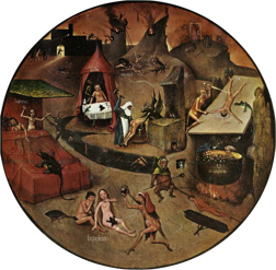 """Detail from """"The Seven Seadly Sins and the Four Last Things"""" by Hieronymus Bosch, depicting the specific eternal punishments that will be unleashed on the sinners - unless they repent. On the right side, a greedy man is being boiled in liquid gold."""