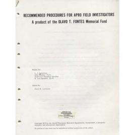 Lorenzen, Coral E. (ed.): Recommended  proceedings for APRO field investigators