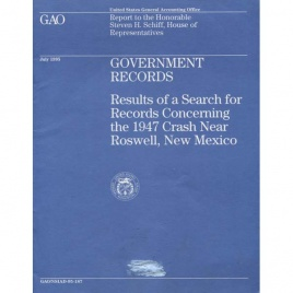 Davis, Richard (ed.): Results of a search for records concerning the 1947 crash near Roswell, New Mexico. Report to the Honorable Steven H. Schiff, House of Representatives