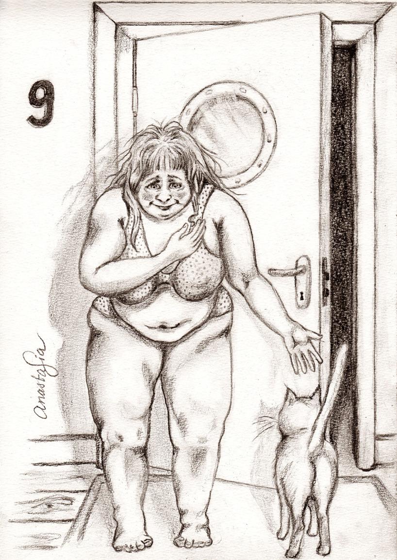Teckning i blyerts / Kattbesök