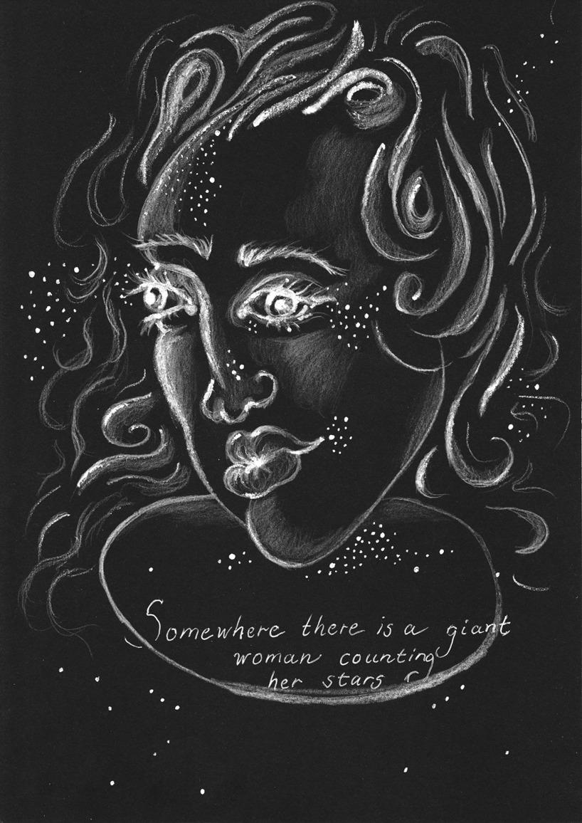 Giant woman / Vit penna på svart papper