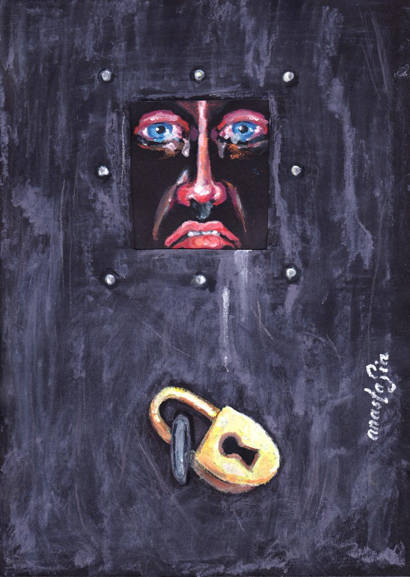 Teckning , akvarellpennor: Man in a box