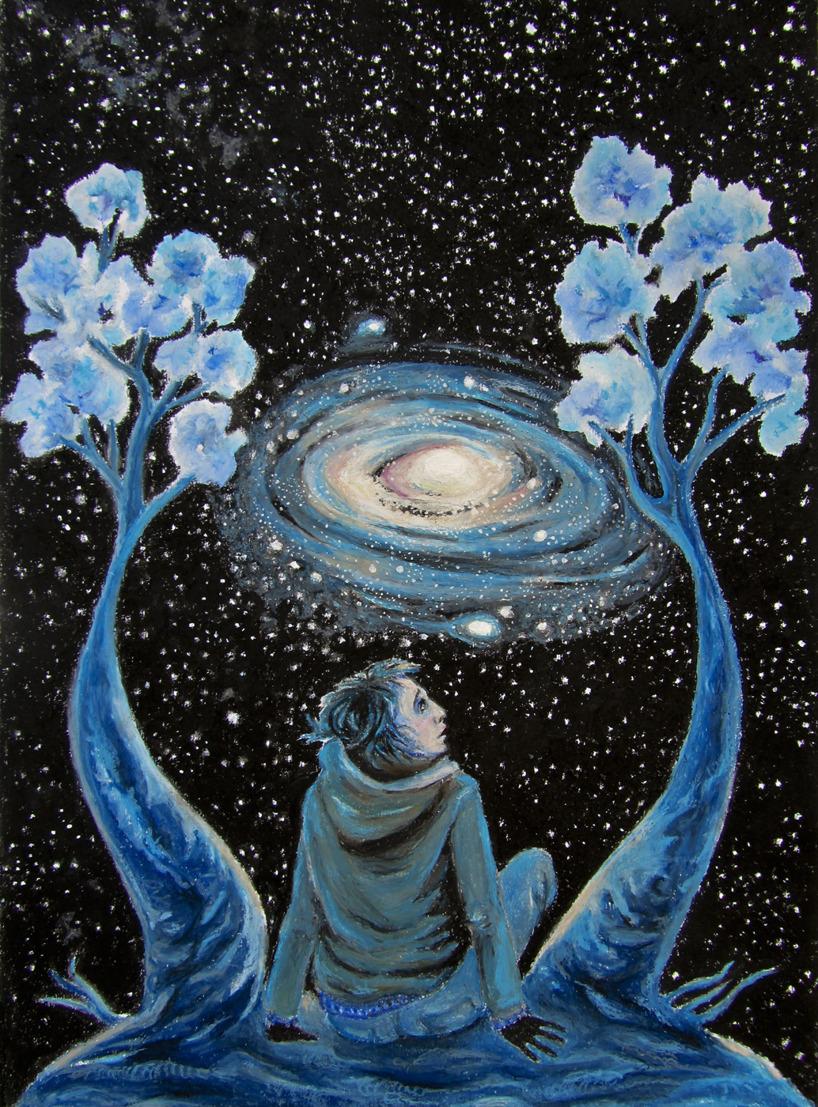 """""""Galaxen"""" Oljepastellkrita på A3 akvarellpapper"""