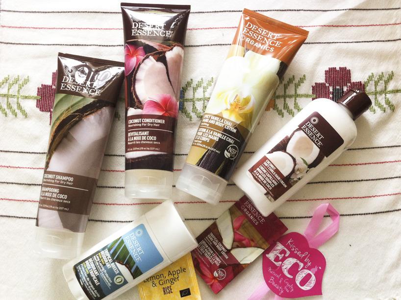 Dessert Essence, shampo, balsam, hudlotion, hårkräm och deo. Köpt från Kissed by ECO